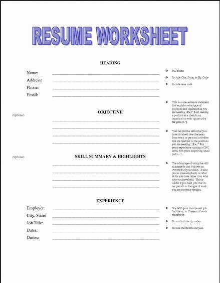 Resume Worksheet for Adults Inspirational Pin by Job Resume On Job Resume Samples
