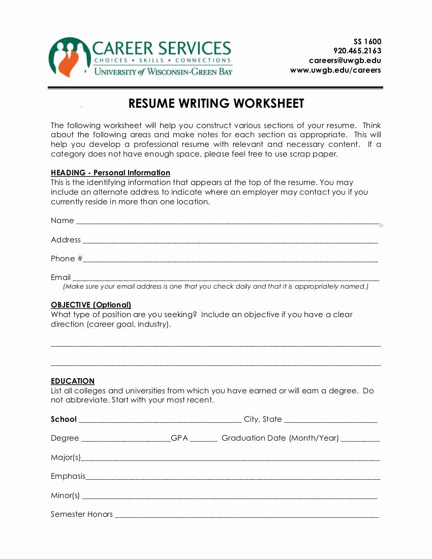 Resume Worksheet for Adults Luxury 10 Resume Worksheet Examples In Pdf
