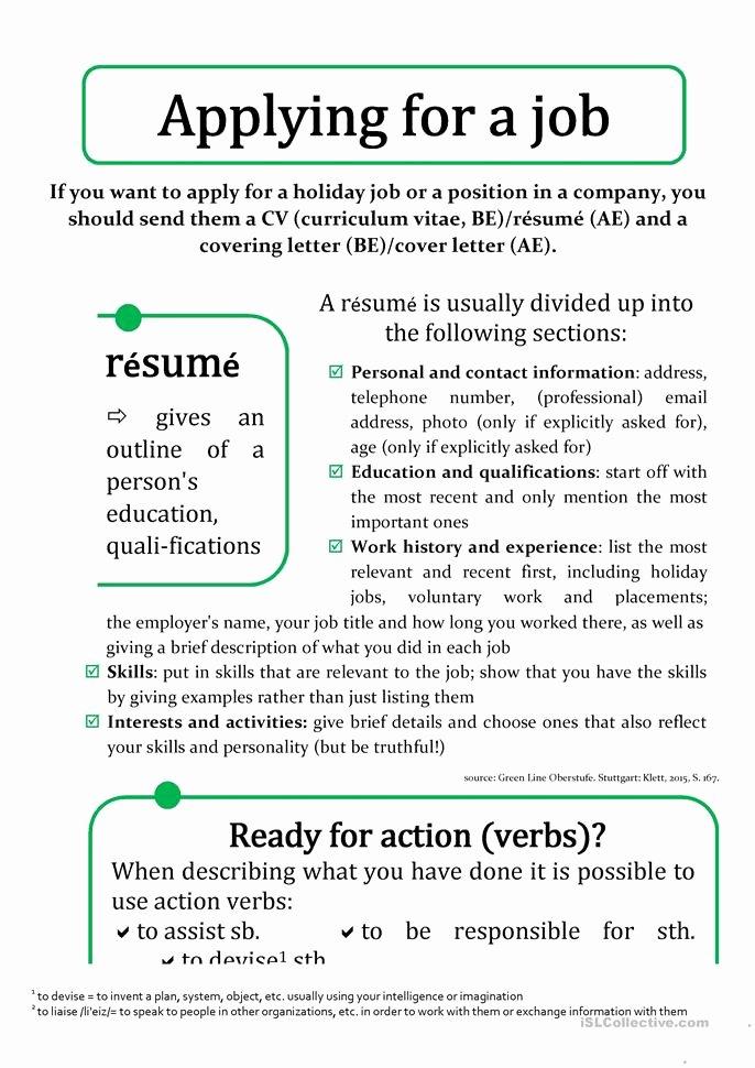 Resume Worksheet for Adults New Cv Résumé and Cover Ing Letter Worksheet Free Esl