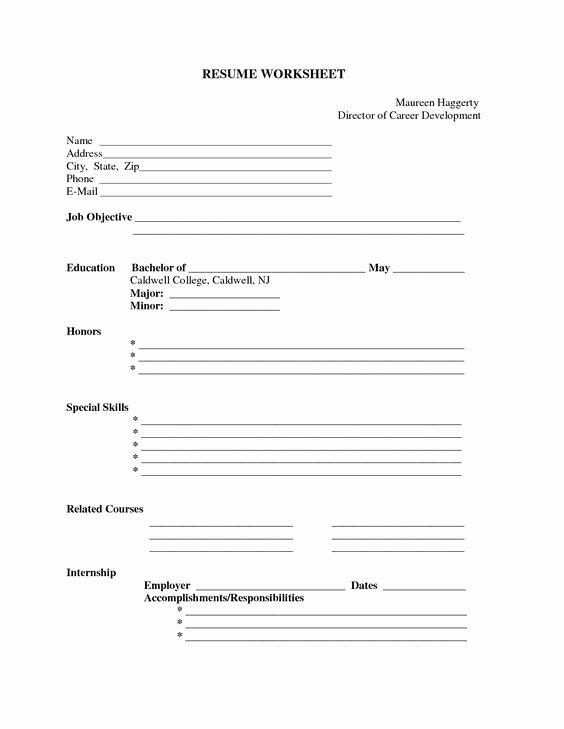 Resume Worksheet for Adults Unique Free Printable Blank Resume forms Career Termplate Builder