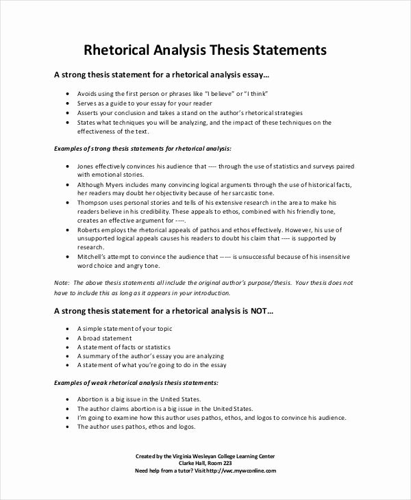 Rhetorical Analysis Outline Worksheet Beautiful thesis Statement Template 9 Free Pdf Word Documents