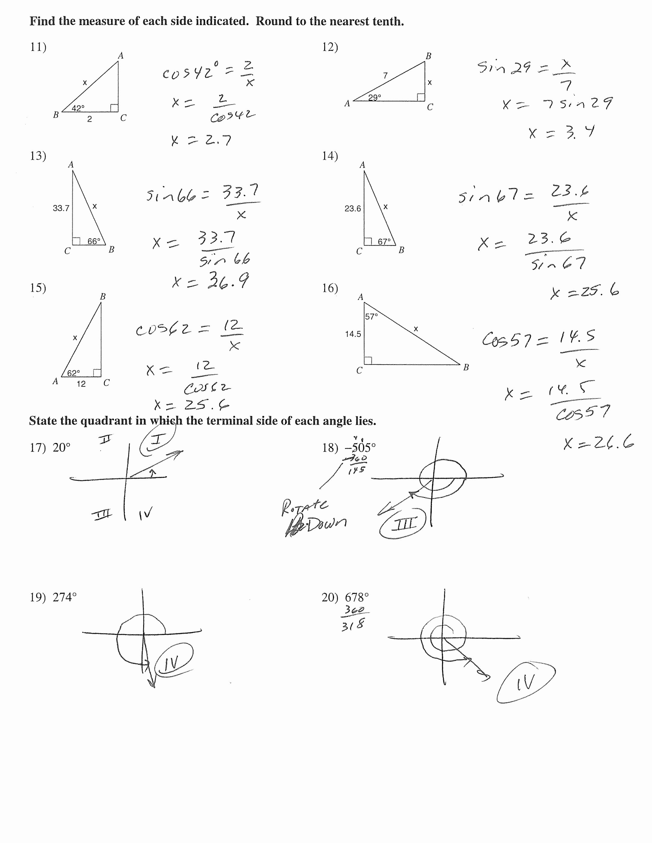 Right Triangle Trig Worksheet Answers Awesome the Best Free Worksheet Drawing Images Download From 1482
