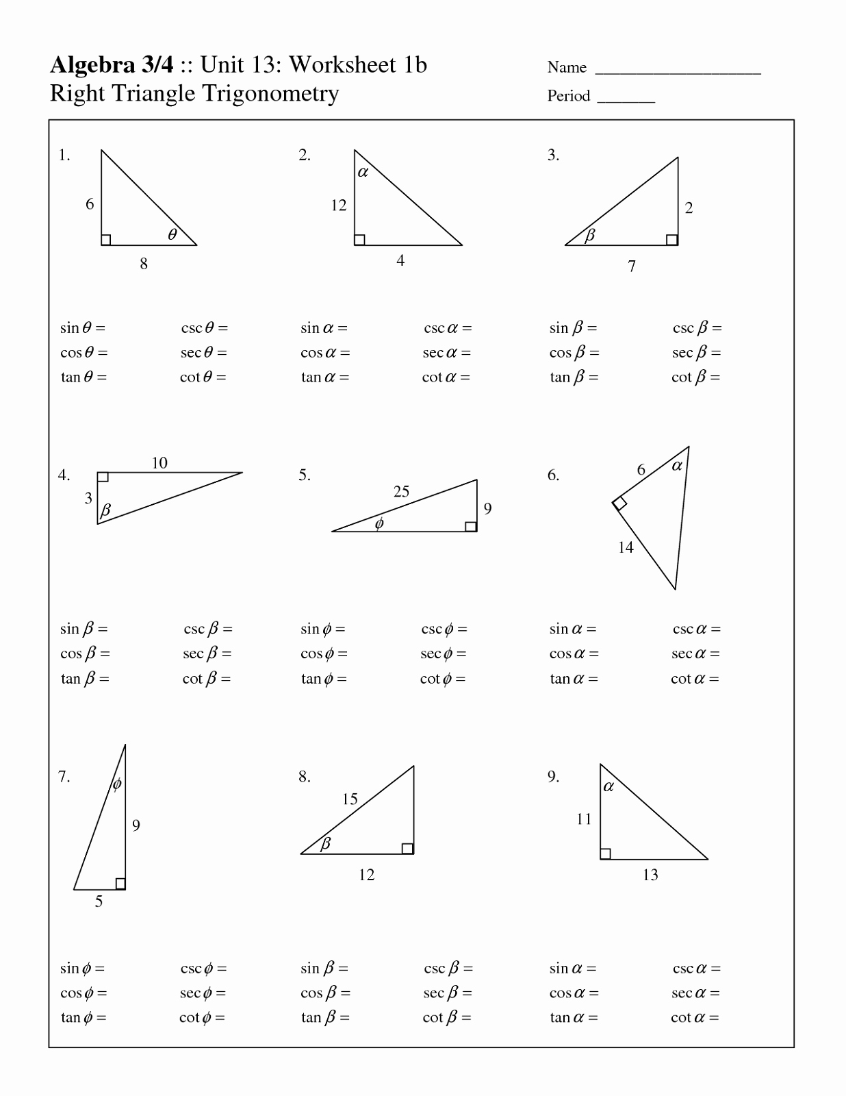 Right Triangle Trig Worksheet Answers Beautiful Free Fact Triangles Worksheets