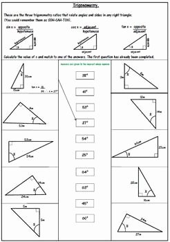 Right Triangle Trig Worksheet Answers Beautiful Right Triangle Trigonometry Worksheet soh Cah toa