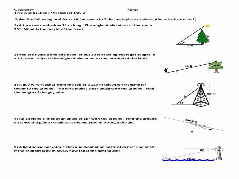 Right Triangle Trig Worksheet Answers Inspirational Trig Word Problems Worksheet