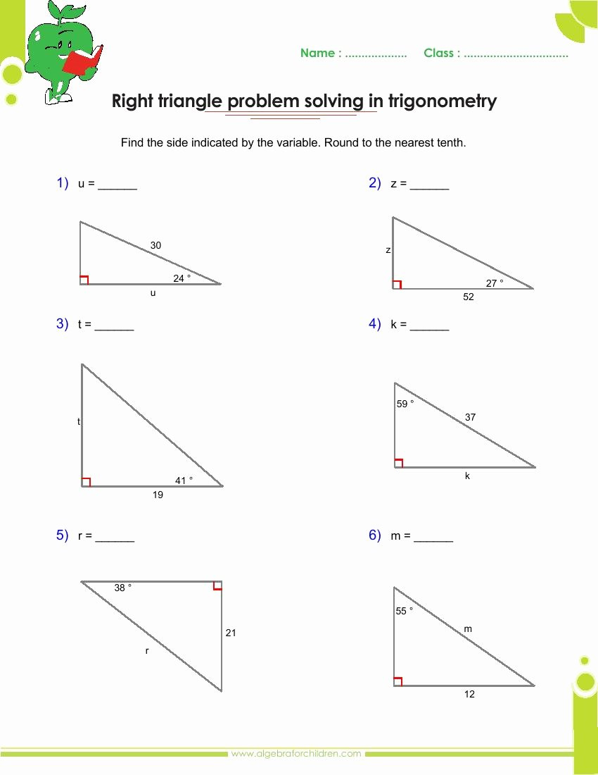 Right Triangle Trig Worksheet Answers New Basics Trigonometry Problems and Answers Pdf for Grade 10