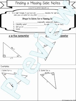 Right Triangle Trig Worksheet Beautiful Right Triangle Trig Finding A Missing Side Guides Notes
