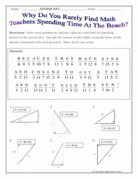 Right Triangle Trig Worksheet Fresh Right Triangles Sin Cos Tan soh Cah toa Trig Riddle