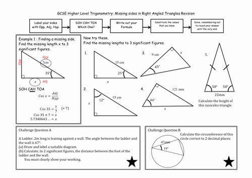 Right Triangle Trig Worksheet Fresh Trigonometry In Right Angled Triangles by Madmaths11