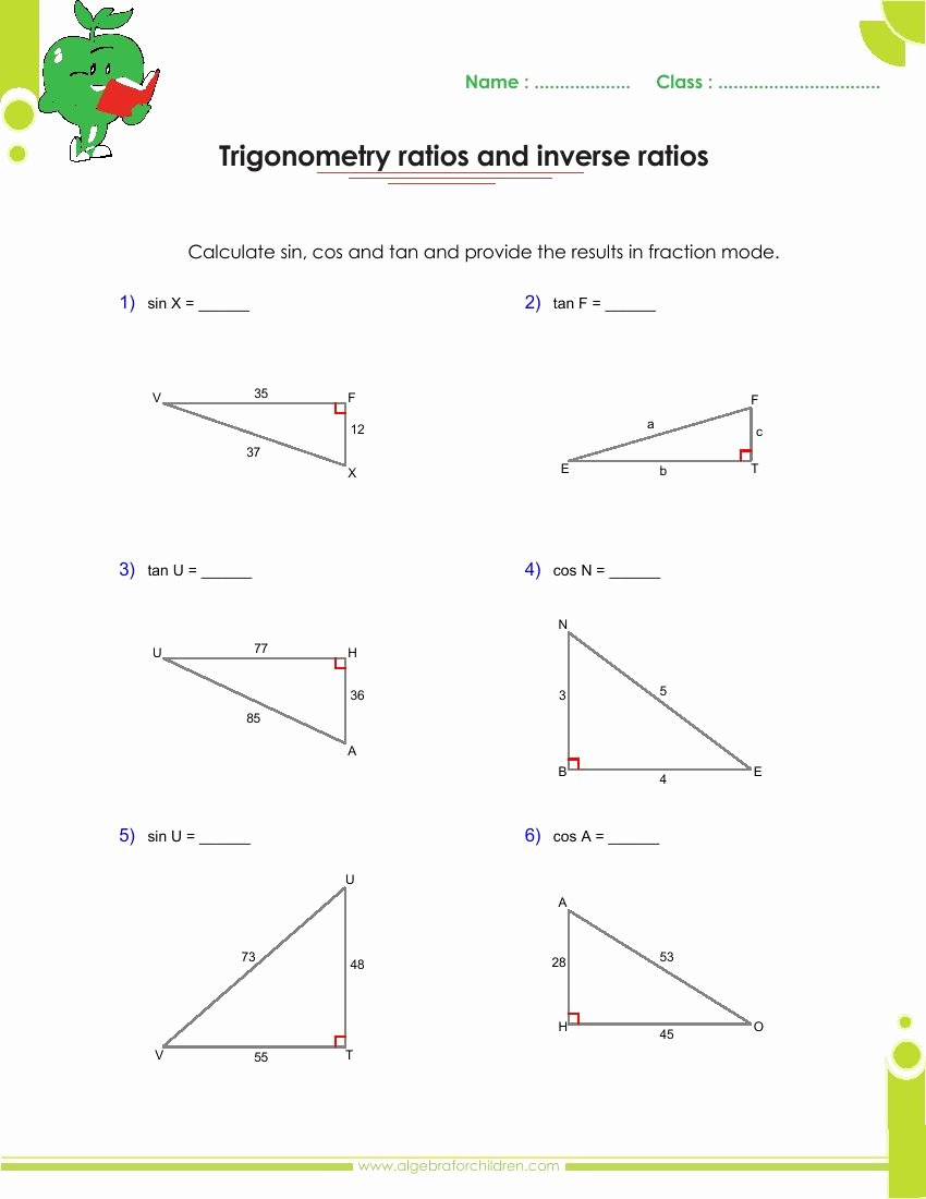 Right Triangle Trig Worksheet Inspirational Basics Trigonometry Problems and Answers Pdf for Grade 10