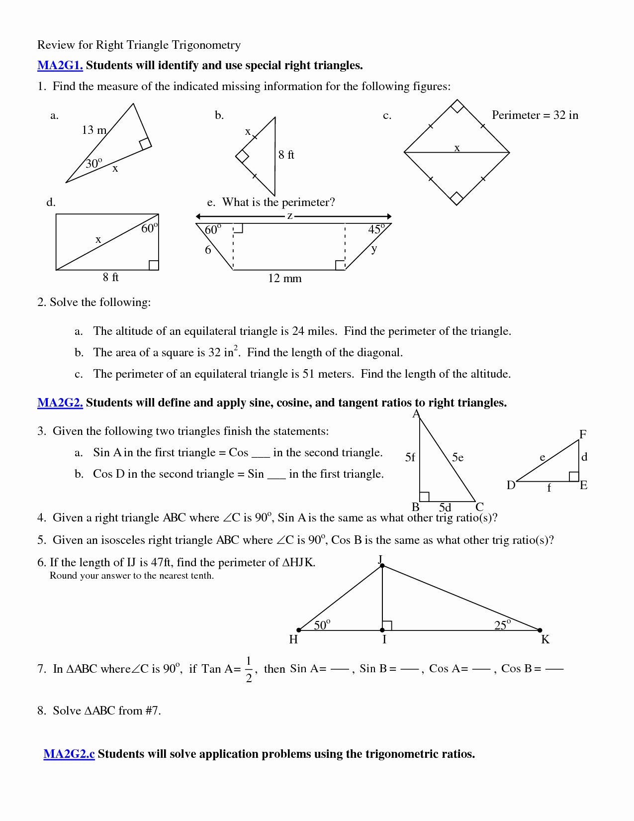 Right Triangle Trig Worksheet Luxury 5 Best Of Applications Trigonometry Worksheet