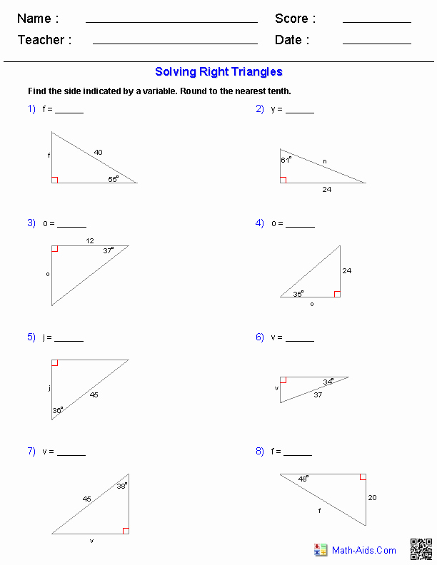Right Triangle Trig Worksheet New solving Right Triangles Worksheets