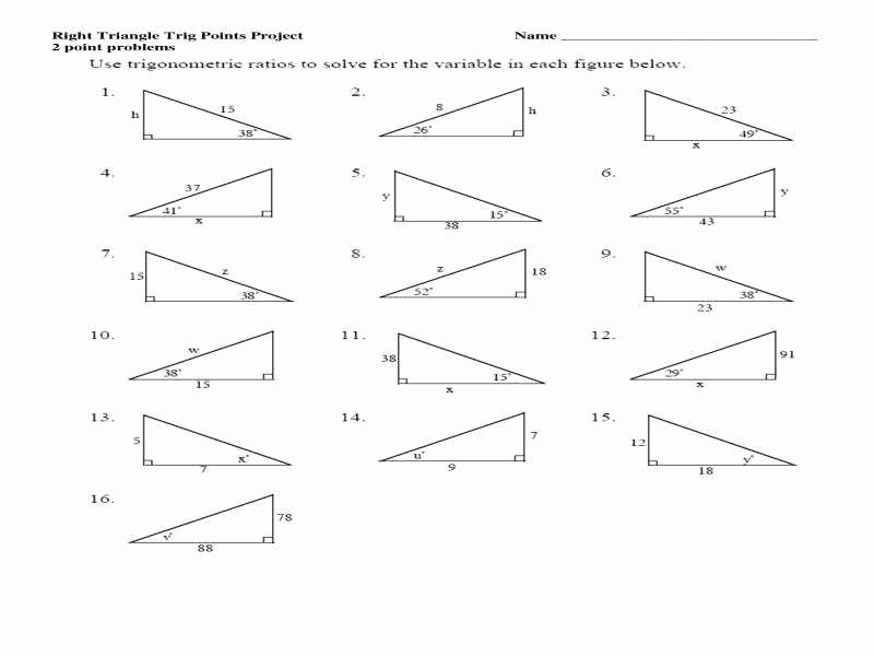 Right Triangle Trig Worksheet Unique Right Triangle Trig Worksheet