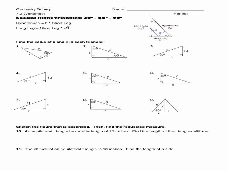 Right Triangle Trigonometry Worksheet Answers Beautiful Special Right Triangles Worksheet