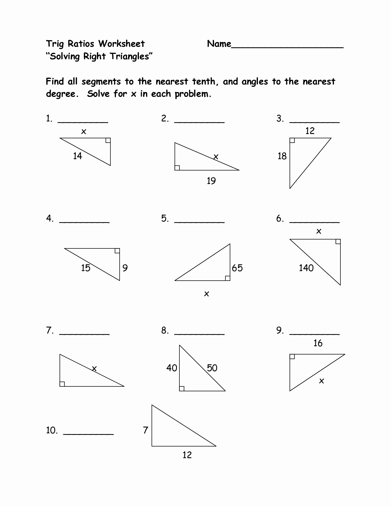 Right Triangle Trigonometry Worksheet Answers Best Of Trigonometry Ratios Worksheet Answers