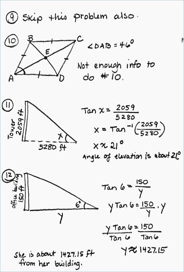Right Triangle Trigonometry Worksheet Answers Fresh 15 Trig Word Problems Worksheet Answers
