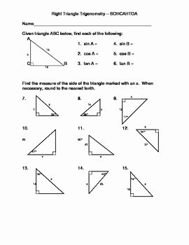 Right Triangle Trigonometry Worksheet Answers Inspirational Right Triangle Trigonometry Using sohcahtoa by Dawn