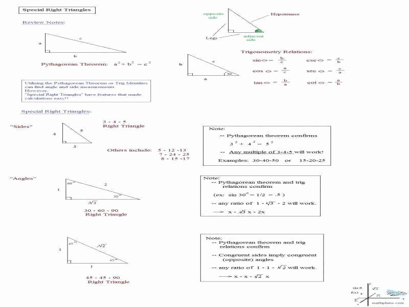 Right Triangle Trigonometry Worksheet Answers Inspirational Special Triangles Worksheet
