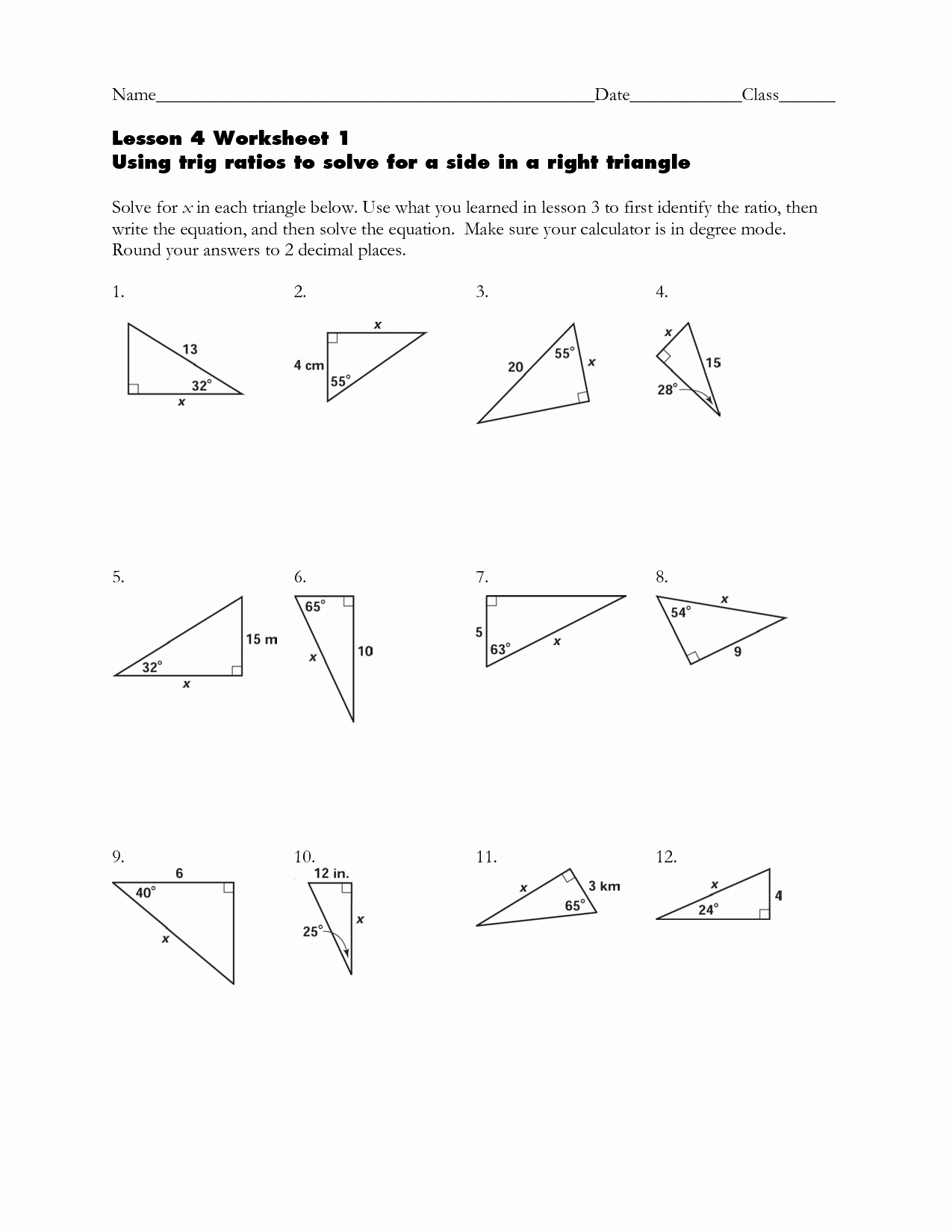 Right Triangle Trigonometry Worksheet Answers New Right Triangles and Trigonometry Worksheet the Best