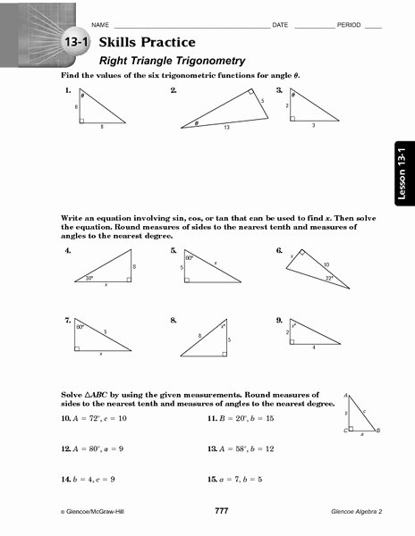 Right Triangle Trigonometry Worksheet Beautiful 13 1 Skills Practice Right Triangle Trigonometry