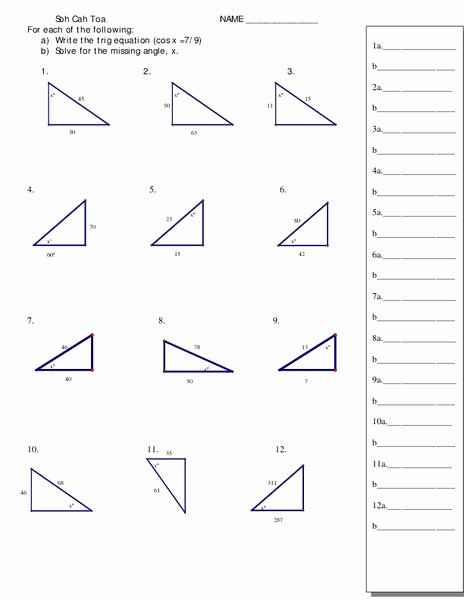 Right Triangle Trigonometry Worksheet Beautiful Trigonometry and Right Triangles Worksheet for 11th 12th