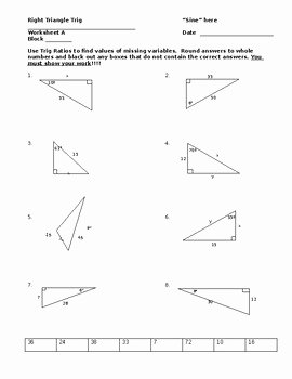 Right Triangle Trigonometry Worksheet Fresh Right Triangle Trig Worksheet by Chris Smith