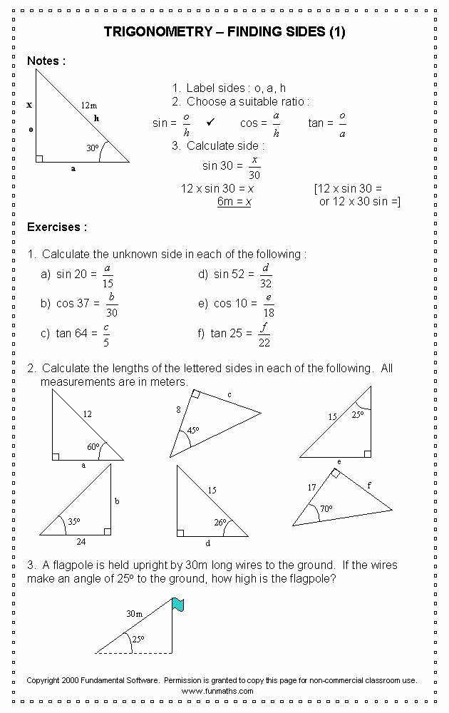Right Triangle Trigonometry Worksheet Inspirational Right Triangle Trig Worksheet