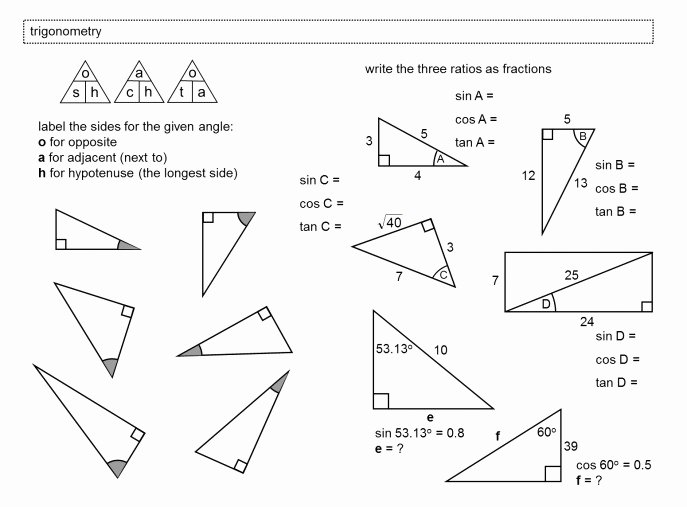Right Triangle Trigonometry Worksheet Inspirational soh Cah toa Worksheet