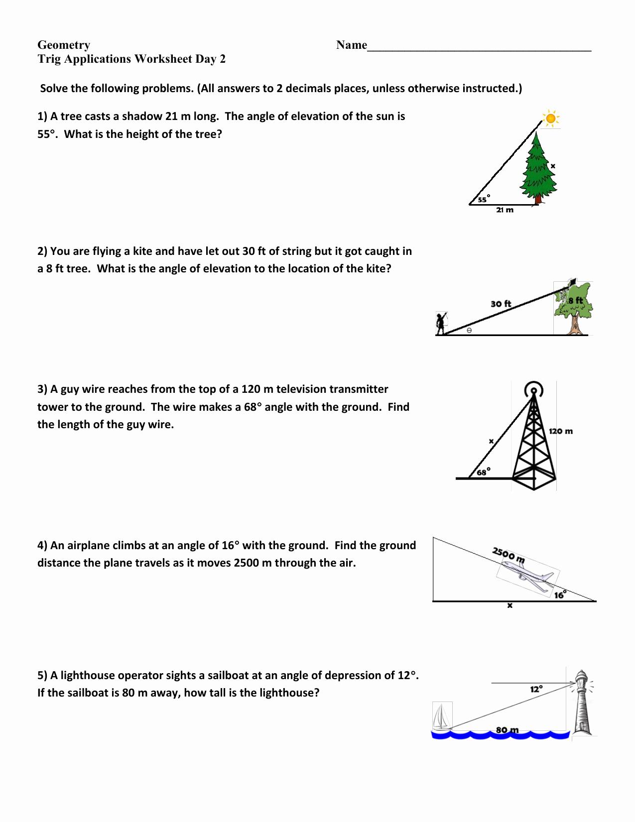 Right Triangle Trigonometry Worksheet Luxury Trigonometry Word Problems Worksheets with Answers