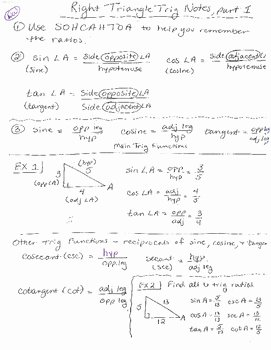 Right Triangle Trigonometry Worksheet Unique Right Triangle Trigonometry Notes by Delora Washington S