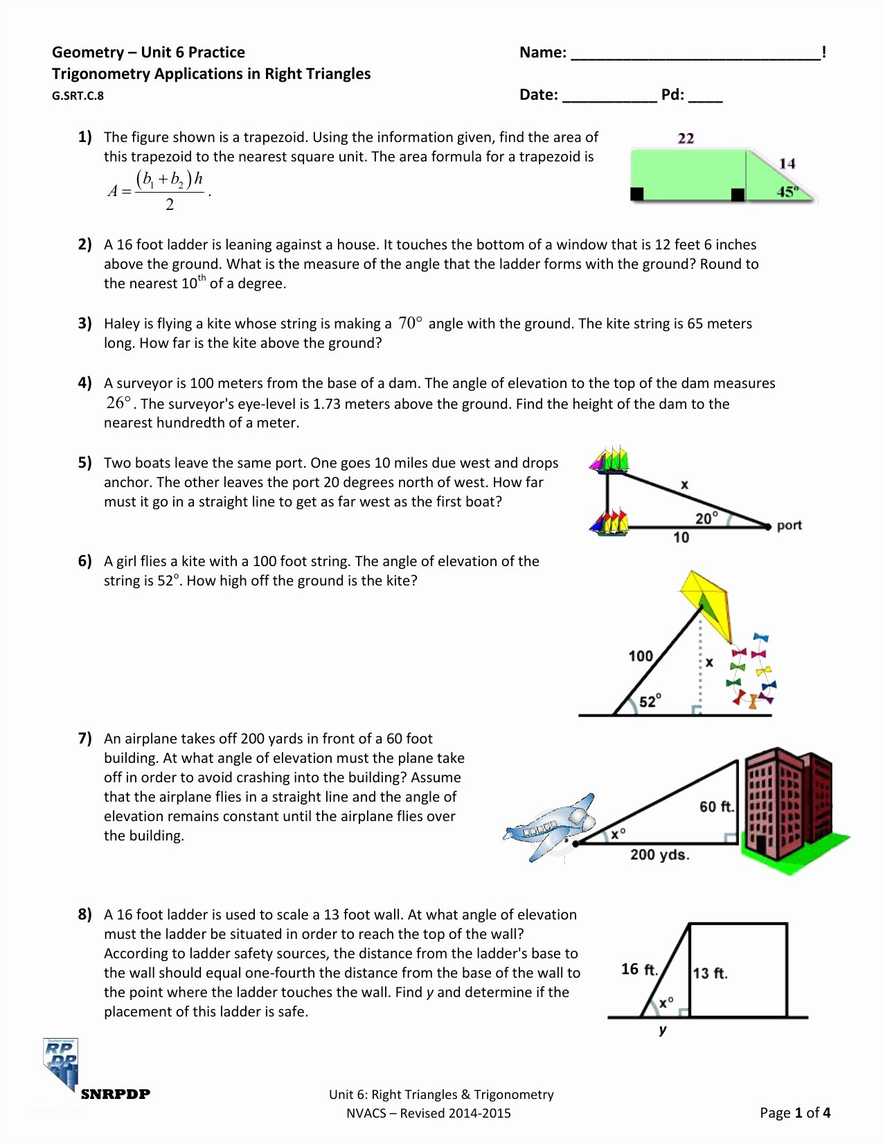 Right Triangle Word Problems Worksheet Fresh Trig Word Problems Worksheet Funresearcher