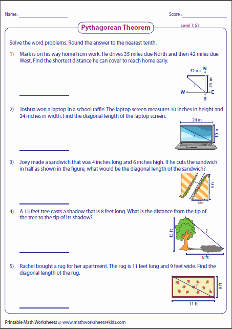 Right Triangle Word Problems Worksheet Inspirational Pythagorean theorem Worksheets
