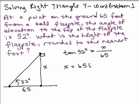 Right Triangle Word Problems Worksheet Lovely solve Right Triangles 4 Word Problem