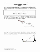 Right Triangle Word Problems Worksheet Luxury Applied Trigonometry Problems Worksheet for 9th 12th