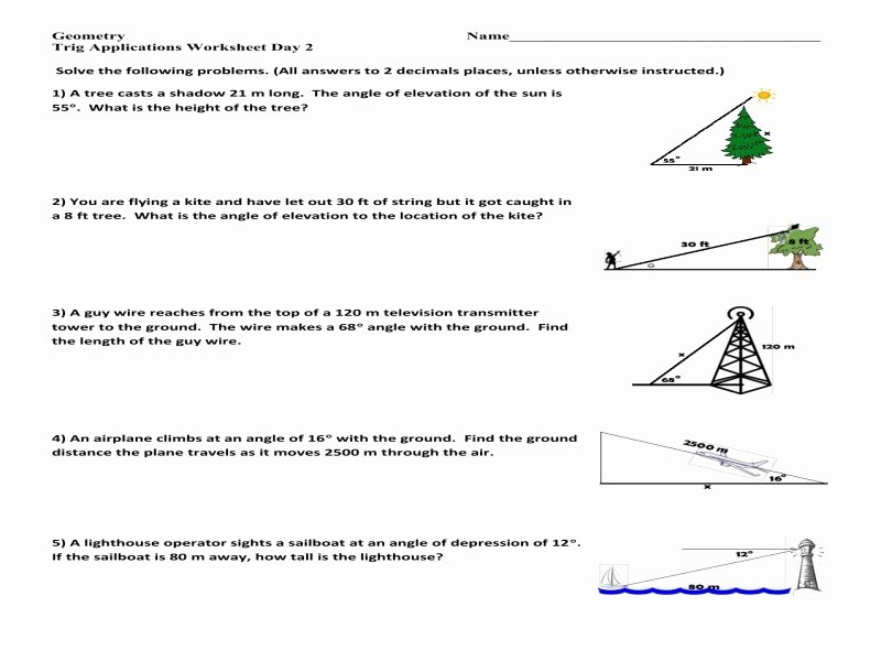 Right Triangle Word Problems Worksheet Unique Trigonometry Word Problems Worksheets with Answers Free