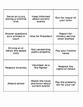 Rights and Responsibilities Worksheet Awesome Duty Responsibility Game by Shipp S Civics Resources
