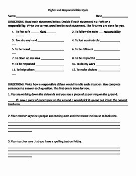 Rights and Responsibilities Worksheet Lovely Rights and Responsibilities Quiz by Finnerty S Finds