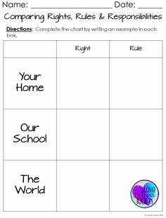 Rights and Responsibilities Worksheet Luxury Childrens Rights and Responsibilities Printable Posters