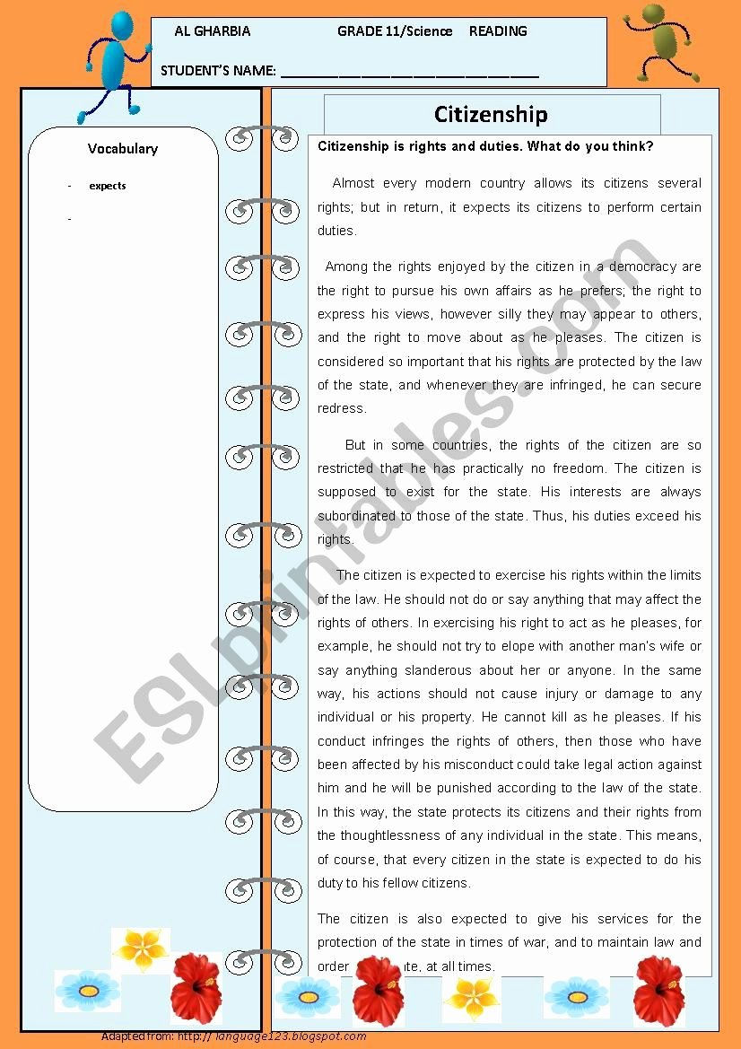 Rights and Responsibilities Worksheet Luxury Citizenship is Rights and Responsibilities Esl Worksheet