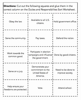 Rights and Responsibilities Worksheet Unique Duties and Responsibilities Of Citizens sort