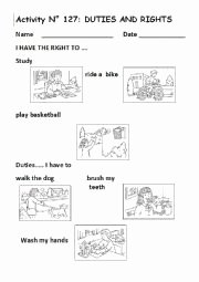 Rights and Responsibilities Worksheet Unique English Worksheets Duties and Rights No 127