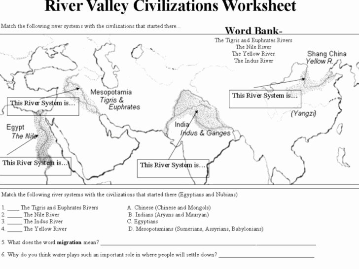 River Valley Civilizations Worksheet Answers Awesome River Valley Civilizations Worksheet