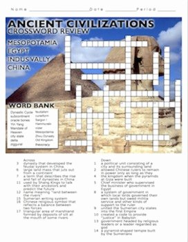 River Valley Civilizations Worksheet Answers Lovely Ancient River Civilizations Crossword Puzzle Review by