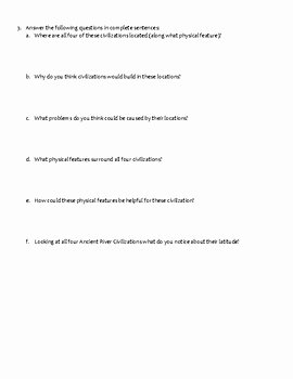 River Valley Civilizations Worksheet Answers New River Valley Civilizations Map Activity by Christy Oakes