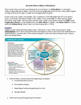 River Valley Civilizations Worksheet Awesome Development Of Civilization Worksheets Ancient River