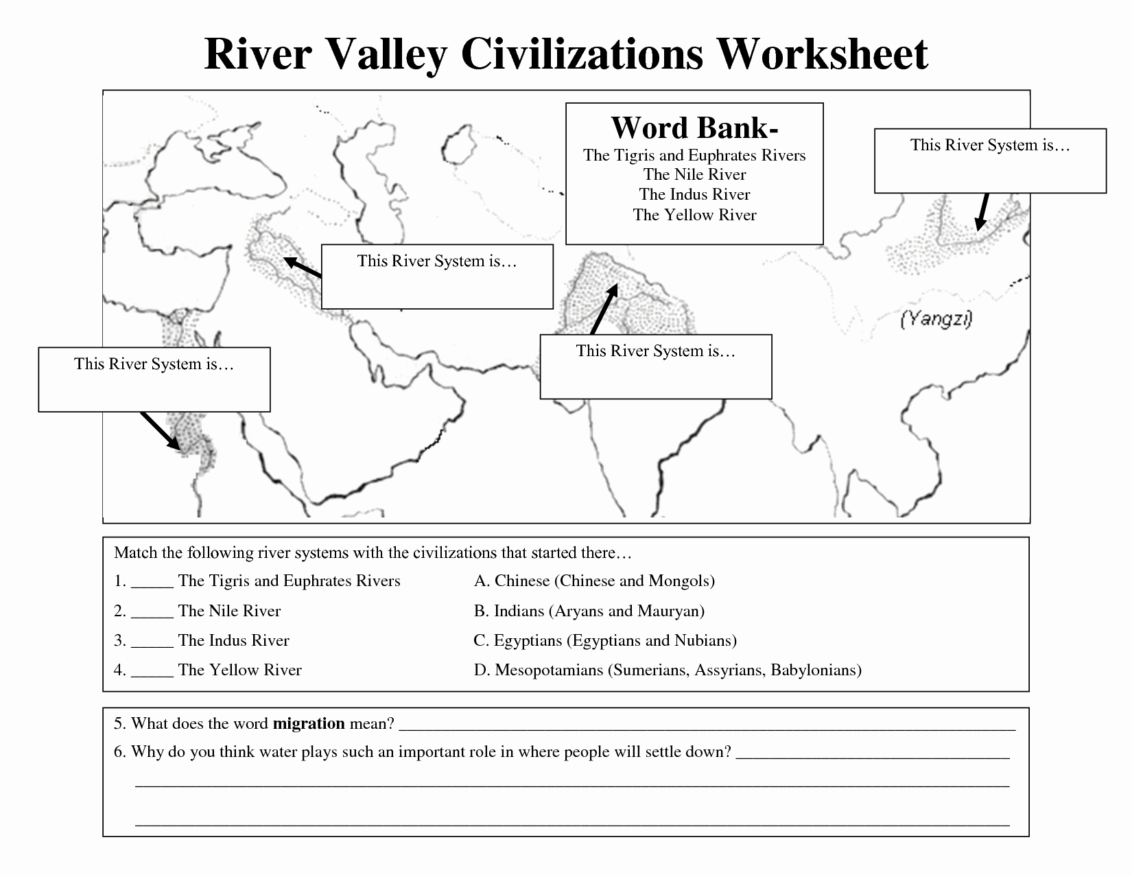 River Valley Civilizations Worksheet New Early Civilizations Worksheet