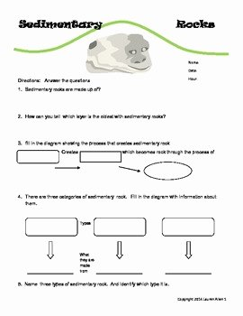 Rock Cycle Worksheet Answers Lovely 6th Grade Sedimentary Rock Worksheet by Lauren Allen