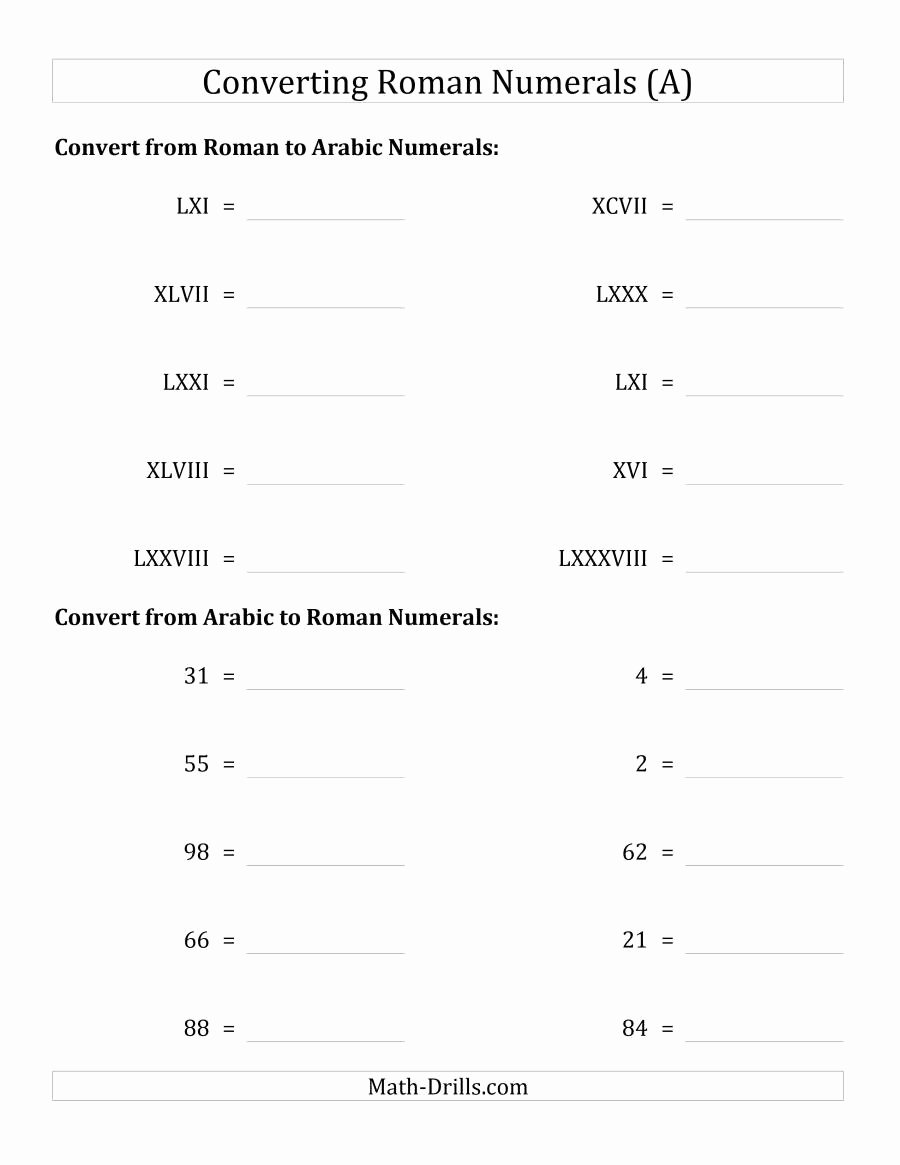 Roman Numerals Worksheet Pdf Best Of Converting Roman Numerals Up to C to Standard Numbers A
