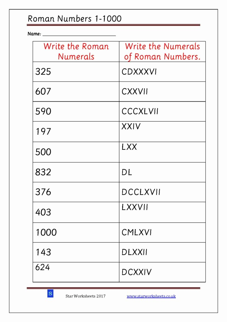 Roman Numerals Worksheet Pdf Fresh Roman Numerals 1 1000 Star Worksheets