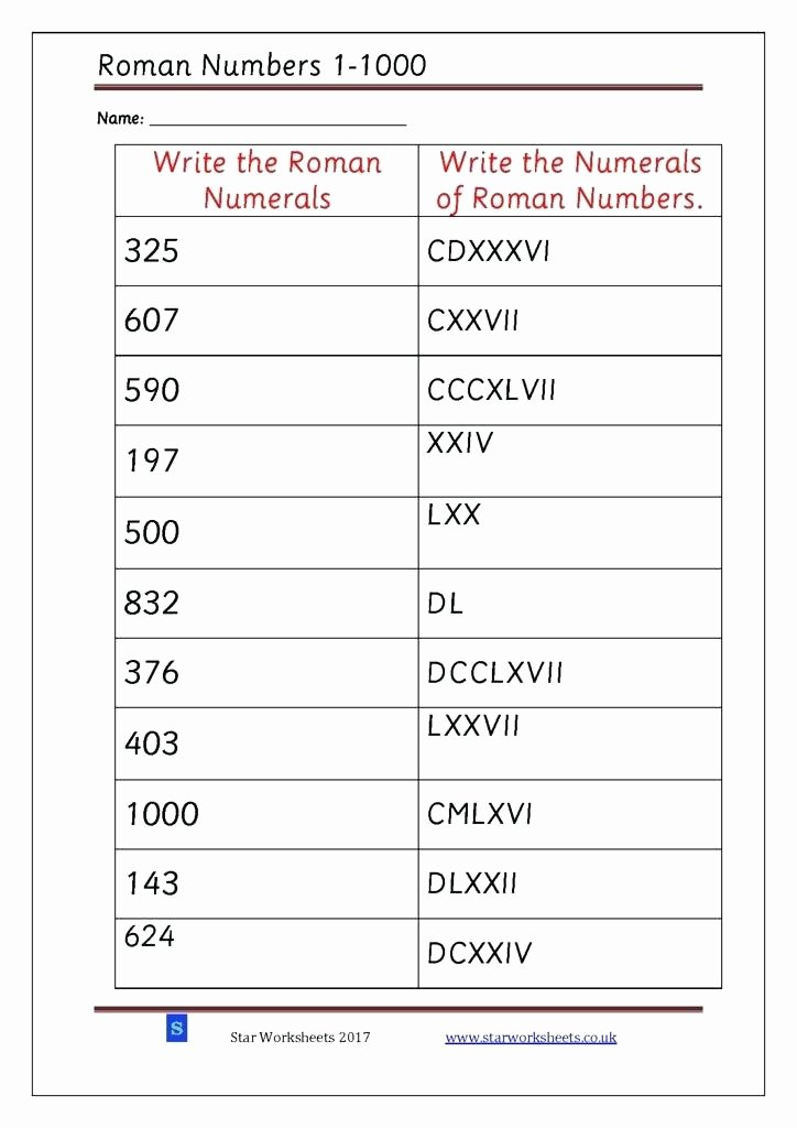 Roman Numerals Worksheet Pdf New Worksheets for Kids Roman Numerals Revision Fall Empire